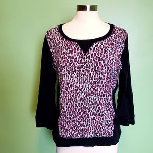 JONES NEW YORK:SPORT Pink Leopard Print Sweatshirt